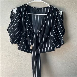 Pinstripe Tie Front Cut out Cinched Crop Top med